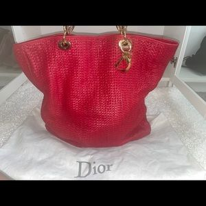Authentic 💯 Christian Dior Red Leather Tote Bag